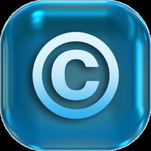 Direitos Autorais no YouTube - imagem de um ícone azul com o símbolo de copyright, que é um c com um círculo em volta.