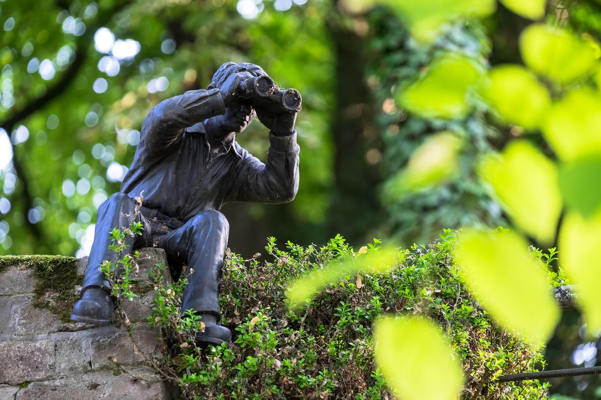 stalking - foto de uma estátua em um parque arborizado de um homem sentado usando binóculos.
