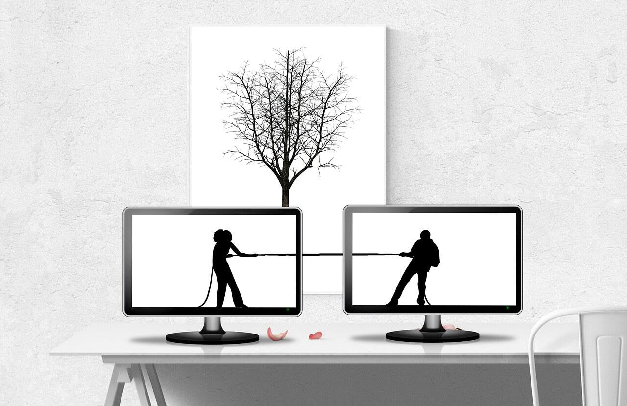 divórcio online extrajudicial - imagem de sombras de um casal em fundo branco, cada um em uma tela de um computador, puxando cada um um cabo de guerra. Ao fundo dos computadores, uma parede branca com um quadro de uma árvore sem folhas.